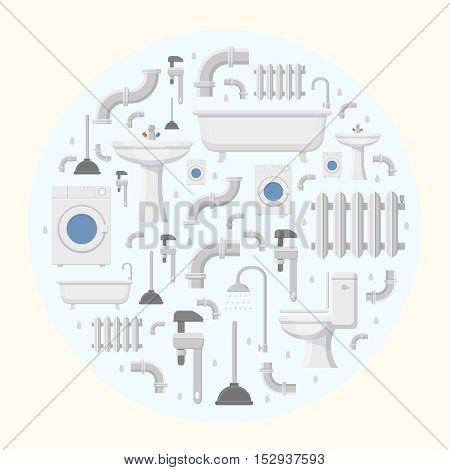 Pipeline plumbing and heating reparation service flat icons round background vector
