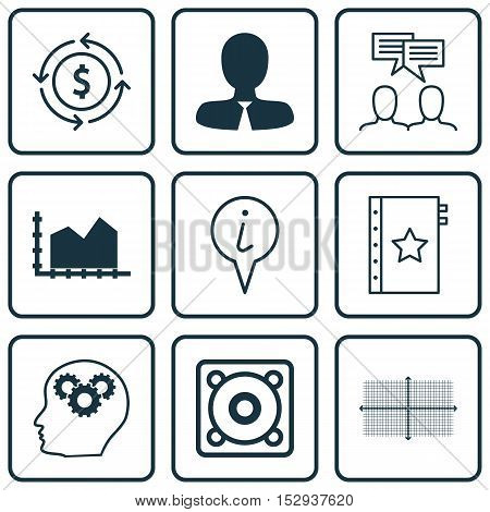 Set Of 9 Universal Editable Icons For Advertising, Computer Hardware And Tourism Topics. Includes Ic