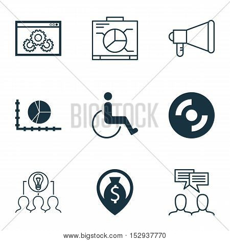Set Of 9 Universal Editable Icons For Human Resources, Marketing And Travel Topics. Includes Icons S
