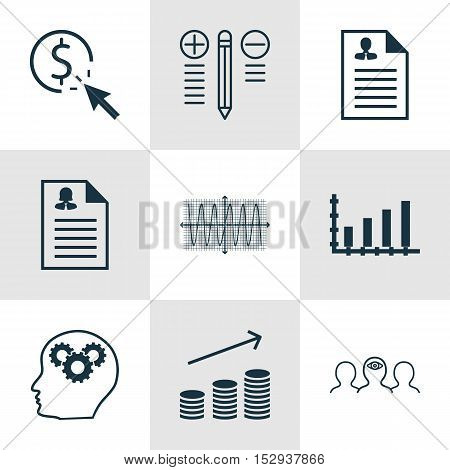 Set Of 9 Universal Editable Icons For Statistics, Hr And Human Resources Topics. Includes Icons Such