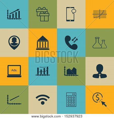 Set Of 16 Universal Editable Icons For Management, Marketing And Computer Hardware Topics. Includes
