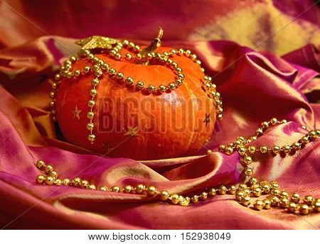 Pumpkin.Art background for Halloween concept, with soft