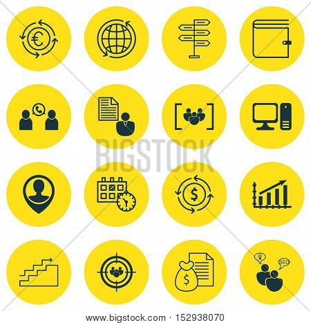 Set Of 16 Universal Editable Icons For Project Management, Travel And Tourism Topics. Includes Icons