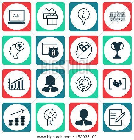 Set Of 16 Universal Editable Icons For Business Management, Transportation And Advertising Topics. I