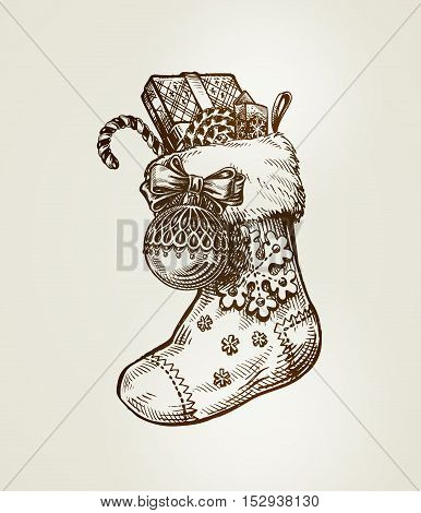 Christmas sock with gifts. Sketch vintage vector illustration