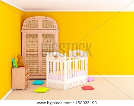 Baby's bedroom with commode and cabinet. 3d illustration