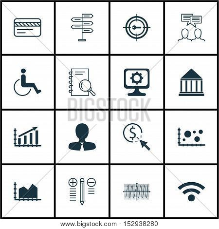 Set Of 16 Universal Editable Icons For Statistics, Tourism And Computer Hardware Topics. Includes Ic