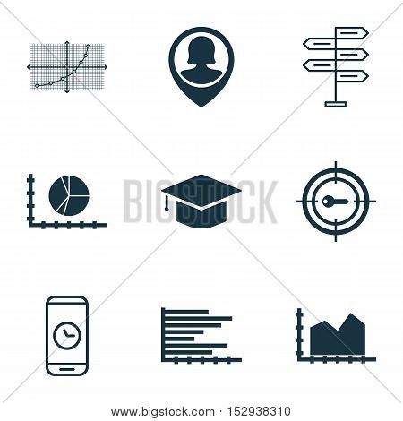 Set Of 9 Universal Editable Icons For Project Management, Management And Marketing Topics. Includes