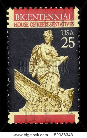 USA - CIRCA 1989: a stamp printed in United States of America shows statue of Clio, the muse of history, House of Representatives, 200th anniversary, circa 1989