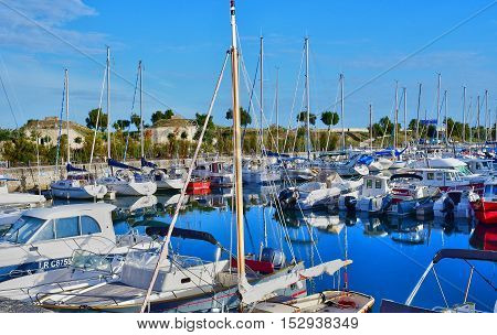 Saint Martin de Re France - september 26 2016 : boats in the picturesque port