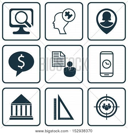 Set Of 9 Universal Editable Icons For School, Computer Hardware And Marketing Topics. Includes Icons