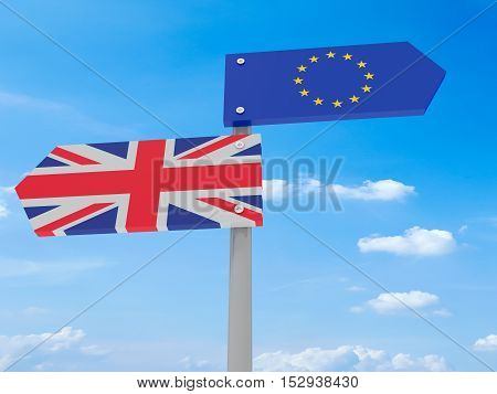Brexit: UK And EU Road Sign Against A Cloudy Sky Pointing In Opposite Directions 3d illustration