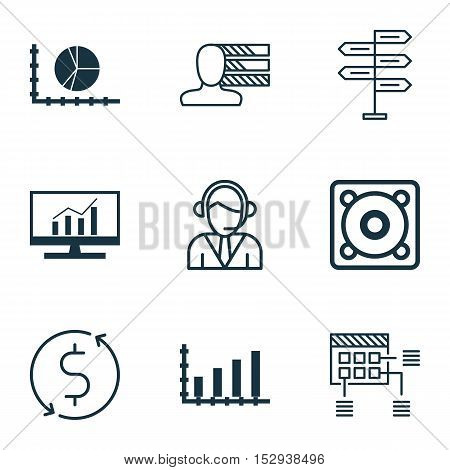 Set Of 9 Universal Editable Icons For Transportation, Marketing And Project Management Topics. Inclu