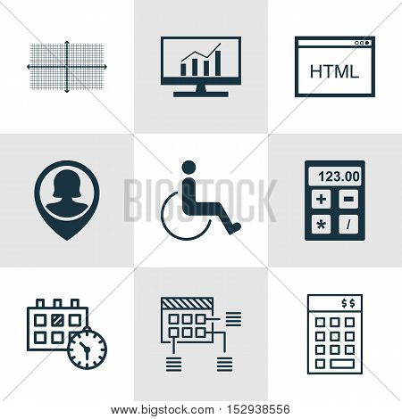 Set Of 9 Universal Editable Icons For Statistics, School And Seo Topics. Includes Icons Such As Fina
