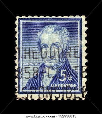 USA - CIRCA 1954: a stamp printed in the United States of America shows James Monroe, fifth President of the United States, circa 1954
