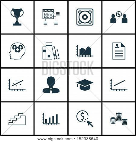 Set Of 16 Universal Editable Icons For Seo, Human Resources And Management Topics. Includes Icons Su