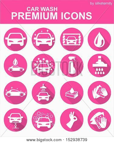 Car icon set wash automobile pink background