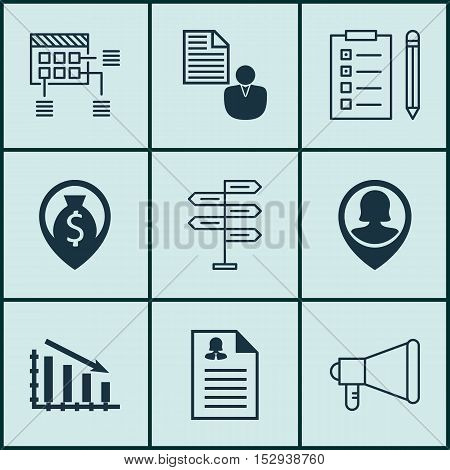 Set Of 9 Universal Editable Icons For Hr, Statistics And Marketing Topics. Includes Icons Such As Fa