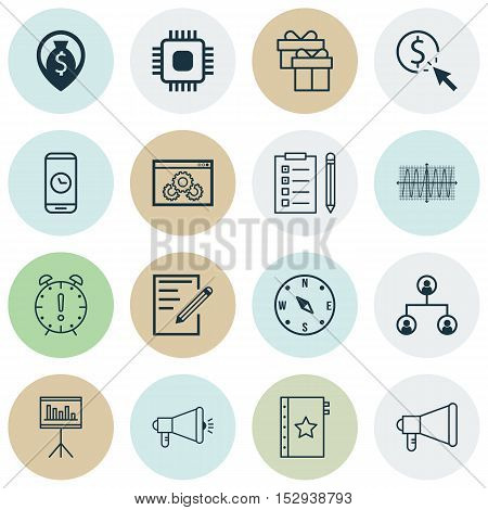 Set Of 16 Universal Editable Icons For Human Resources, Management And Advertising Topics. Includes