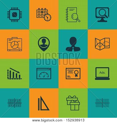 Set Of 16 Universal Editable Icons For Education, Management And Travel Topics. Includes Icons Such