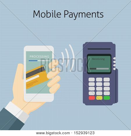 customer paying with electronic banking on mobile payment to edc terminal
