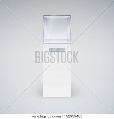 Empty Glass Showcase in Cube Form for Presentation on White Background