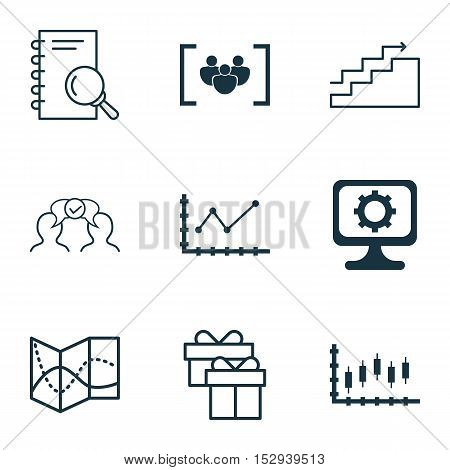 Set Of 9 Universal Editable Icons For Seo, Traveling And Airport Topics. Includes Icons Such As Ques