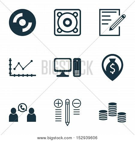 Set Of 9 Universal Editable Icons For School, Human Resources And Project Management Topics. Include