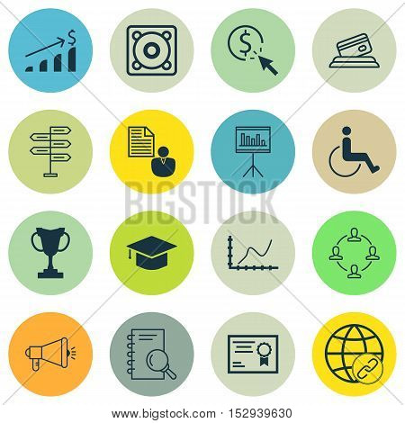 Set Of 16 Universal Editable Icons For Transportation, Seo And School Topics. Includes Icons Such As