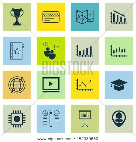 Set Of 16 Universal Editable Icons For Education, Project Management And Airport Topics. Includes Ic