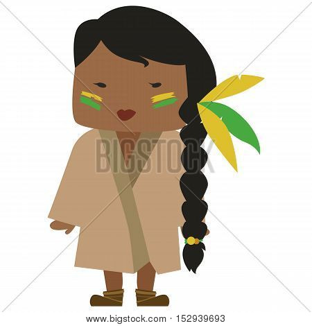 Cartoon image of a native american woman with a nice hairdo