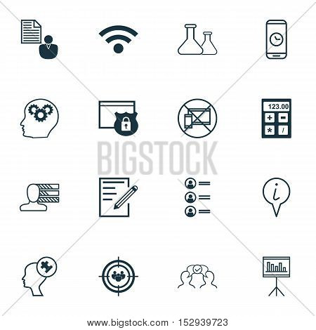 Set Of 16 Universal Editable Icons For Computer Hardware, Advertising And Travel Topics. Includes Ic