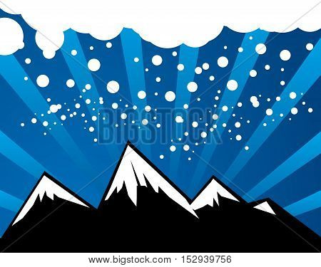 Abstract winter mountain background with space for text, vector illustration