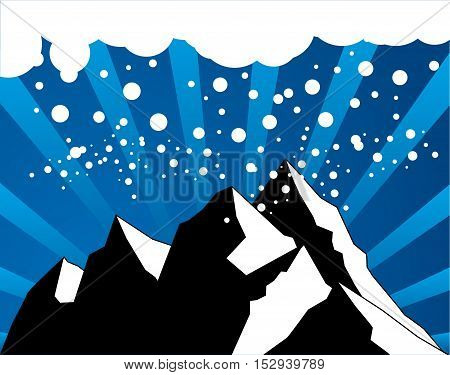 Abstract snow winter mountain background, vector illustration