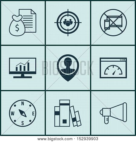 Set Of 9 Universal Editable Icons For Transportation, Marketing And Education Topics. Includes Icons