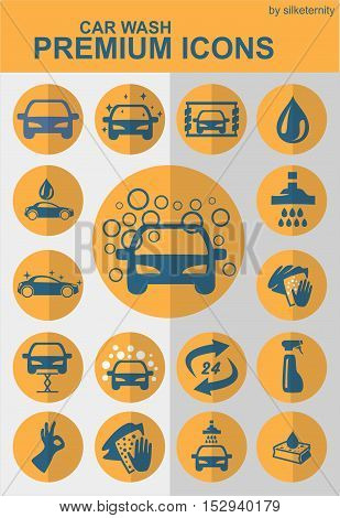 Car icon set wash automobile orange background