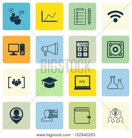 Set Of 16 Universal Editable Icons For Computer Hardware, Management And Project Management Topics.