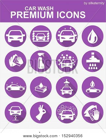 Car icon set wash automobile purple background