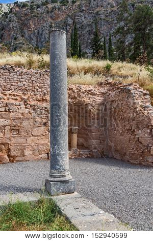 Column in Ancient Greek archaeological site of Delphi,Central Greece