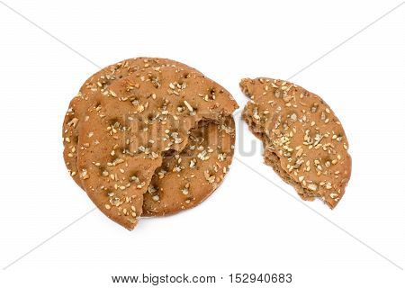 Healthy cereal bread isolated on white background