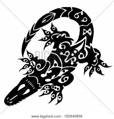 A hand drawing of an Aztec styled alligator