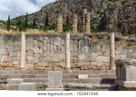 Ancient Columns in Greek archaeological site of Delphi,Central Greece
