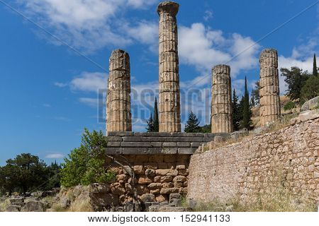 Columns in The Temple of Apollo in Ancient Greek archaeological site of Delphi,Central Greece