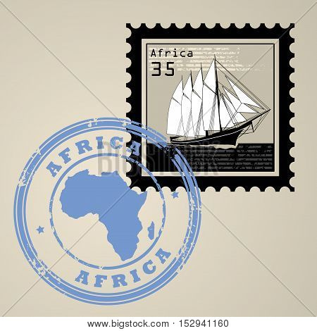 Postage stamp with sailing ship and postmark with text Africa, vector illustration