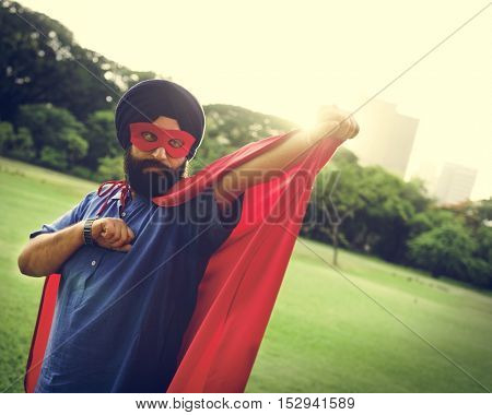 Indian Man Superhero Power Concept