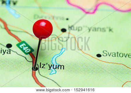 Izyum pinned on a map of Ukraine