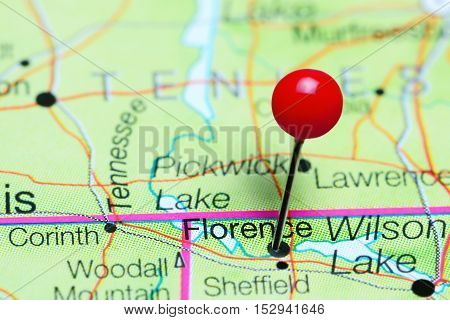 Florence pinned on a map of Alabama, USA