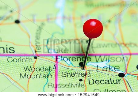Sheffield pinned on a map of Alabama, USA