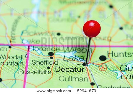 Decatur pinned on a map of Alabama, USA