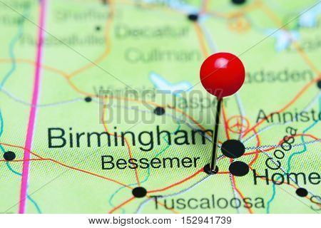 Bessemer pinned on a map of Alabama, USA